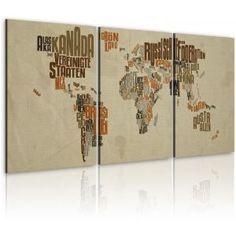 Kaart van de Wereld (Duits) - drieluik - canvas schilderij, kaarten van de wereld schilderijen - Bimago