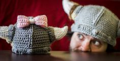gender reveal (baby girl!)  crochet viking hat