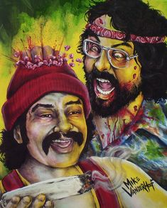Zombie Cheech and Chong - Horror Art Print on Matte Cardstock. Chicano, Nike Poster, Cheech And Chong, Stoner Art, Funny Caricatures, Zombie Art, Kodak Moment, Famous Monsters, Funny Movies