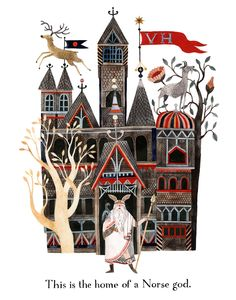 art, spot illustration, fairy tale, naive, figure, man, animal, deer, building, castle, tree, pattern, floral, goat //  carson ellis.