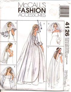 Wedding Veils Pattern Various Lengths Brides Veil Sewing Butterick 4649 One Size UNCUT