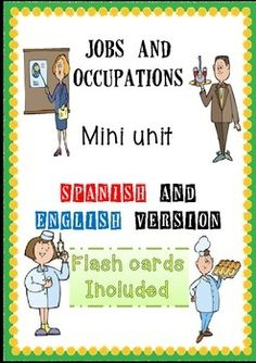 This 45 pages mini unit consists of: 28 FLASHCARDS in English language28 flashcards in Spanish language28 flashcards pictures only56 round cards to play a memory game28 questions cards to play who/job? Spanish28 questions cards to play who/job? englishYou should follow these tasks:Task 1: use the flashcards to introduce the vocabulary of jobs and occupations (you may use the spanish or English version separately or you can cut and paste the spanish version on one side and the English version…