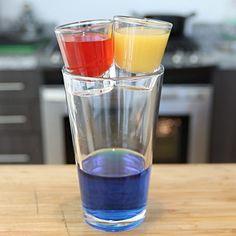 TRAFFIC LIGHT BOMB Red Layer: 1 oz. (30ml) Vodka 1 oz. (30ml) Strawberry Liqueur Yellow Layer: 1 oz. (30ml) Alize Gold Passion Optional: Add Orange Juice Blue Layer: 1 oz (30ml) Blue Raspberry Vodka 1 oz (30ml) Island Punch Pucker Splash of Lemon Lime Soda PREPARATION 1. Combine vodka and strawberry liqueur in a shaker with ice. Shake and strain into a shot glass. Set aside. 2. Pour Alizé Gold Passion in a separate shot glass. Set aside. (Optional: Add Orange Juice) 3. In a shaker with...
