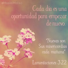 Nuevas son sus misericordias cada mañana. Lamentaciones 3:22