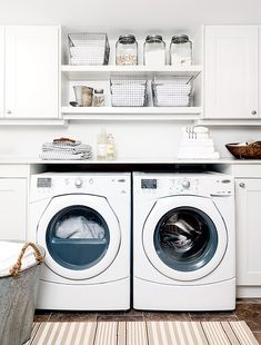 White laundry room with rustic storage details. Room Design, Basement Laundry Room, Diy Storage, Closet Storage, Laundry Room Storage, Storage System, Small Storage, Room Storage Diy, Rustic Storage