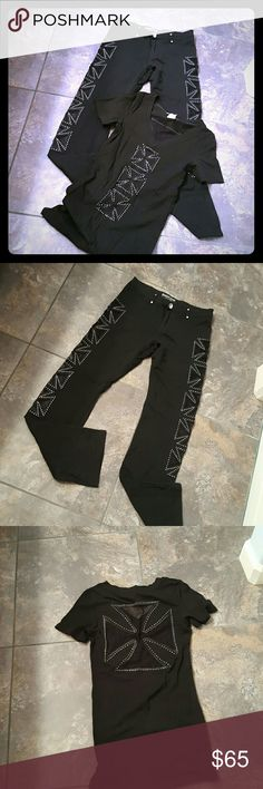 Platinum Plush from L.A. Black comfy outfit that is jeweled to the max! Brand new, never worn! Sides of both legs w/cross cut outs, front button is jeweled, can wear a belt. Top runs very small, cross jeweled cut out on back side, front is solid. Never worn. Bought from a L.A. vendor at a bike show in Nevada. Top 95% cotton, 5% spandex. Pants 95% cotton, 5% spandex. Pants are large, top is a medium, runs small. Platinum Plush from Los Angeles  Other