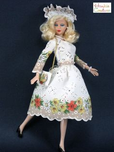Delicate autumn beauty for 11.5 inch Barbie and similar-sized dolls, a OOAK dress by Hankie Couture from a vintage hanky. Dress is on eBay now (Just click the photo)!!!