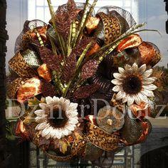 Shimmering Fall Leopard deco mesh Wreath by DzinerDoorz on Etsy, $110.00