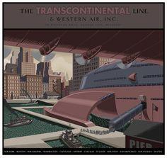 The Transcontinental line © Laurent Durieux Laurent Durieux, Alternative Movie Posters, Vintage Posters, Retro Posters, Retro Futurism, Retro Art, Monster, Limited Edition Prints, Illustrations Posters
