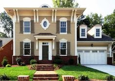 tan house with white shutters | Economy Paint Supply: Exterior Ideas That Will Turn Your Neighbors ...