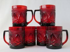 #merrychristmas #christmastable #christmaseggnog Ruby Red Arcoroc Mugs Cristal D'Arques Durand by GSaleHunter