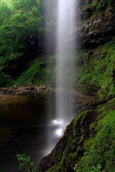 Beautiful Tropical Waterfall in Wales by Anthony Thomas [aka wabberjocky] on Flickr. Henrhyd Falls, Brecon Beacons National Park, Coelbren, Wales, U.K.