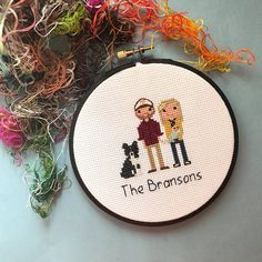 Three Figures Portrait Custom Cross Stitch Family Portrait
