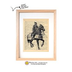 Medieval knight on horseback dictionary print -N02-Medieval art print-Knight on book page-Upcycled Vintage Dictionary art - by NATURA PICTA