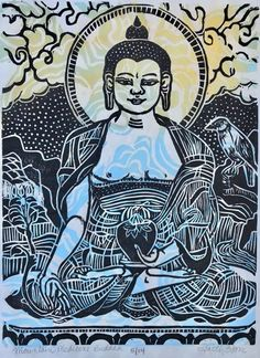Buddhist Art – Lion's Roar Stone Lion, Thangka Painting, Prayer Flags, Hindu Art, Buddhist Art, Red Background, Woodblock Print, Watercolor And Ink, Original Image