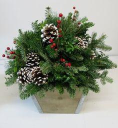"""White Christmas"" Birch Pot Arrangement — Gardens of The Blue Ridge Christmas Baskets, Christmas Items, All Things Christmas, Christmas Holidays, Christmas Wreaths, Christmas Flowers, Christmas Squares, Green Christmas, Outdoor Christmas"