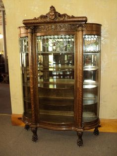 FABULOUS Oak Curved Glass Curio/China Cabinet, circa 1900,