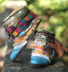 Custom order boots made from the deep blue boots in the second photo with embellishments especially for Tiffany