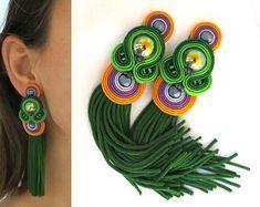 Soutache jewelry: earrings, necklaces and bracelets di sutaszula Beaded Tassel Earrings, Soutache Earrings, Tassel Jewelry, Fall Jewelry, Beaded Jewelry, Orange Earrings, Big Earrings, Unique Earrings, Clip On Earrings