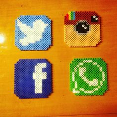 Social media coasters hama beads by jrdisenos Perler Bead Designs, Hama Beads Coasters, Pixel Beads, Things To Do When Bored, Pearler Beads, Cross Stitch Designs, Bead Weaving, Bead Crafts, Beading Patterns