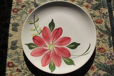 Darcy BLUE RIDGE SOUTHERN POTTERIES Dinner Plate Vintage Red Flower #BlueRidgeSouthernPotteries
