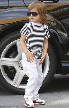 Lil Mason Disick in Air Max 90 Infrared's. #fashion #mens