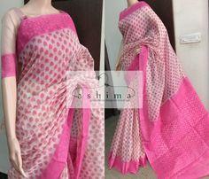 - Price , Printed Kota Saree With Woven Border And Pallu. Tussar Silk Saree, Ikkat Saree, Cotton Saree, Indian Attire, Indian Wear, Velvet Saree, Kota Sarees, Indian Kurta, Simple Sarees