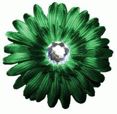 "Green Gerber Daisy Flower Hair Clip, 4"""