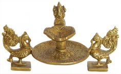 Two Peacock Holding Diya with Ganesha (Brass))
