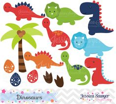 Dinosaur Clipart, Dinosaur Party for commercial or personal use