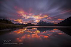 The wide fiery long-exposure sunrise at Vermilion Lakes. We all need one...