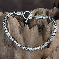 Men's sterling silver bracelet, 'Dragon Tail'