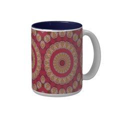 Red #Gold Yellow #rosettes #Mandala #Coffee #Mugs #zazzle.com