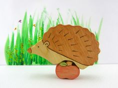 hedgehog toy  wooden toy  wood toy  waldorf toy  by WoodenfulToys, $9.00