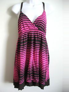 $15  Striped Black and Pink Reversible Spaghetti Strap Summer Dress Size L LARGE