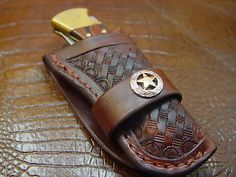 Custom Hand Tooled Leather Knife Sheath for Buck 110 Tooled and Dyed Dark Brown