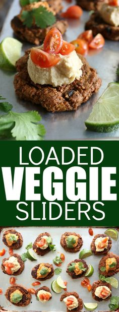 Delicious Loaded Veggie Sliders that are so hearty and flavorful! Top them with your favorite hummus or dip for a yummy low carb and gluten free recipe!
