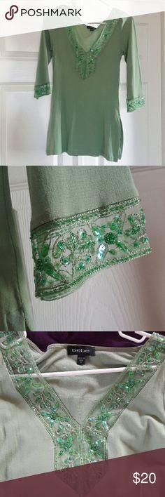Bebe Embellished Tunic Beautiful embellished tunic, beads, sequins, nylon bebe Tops Tunics