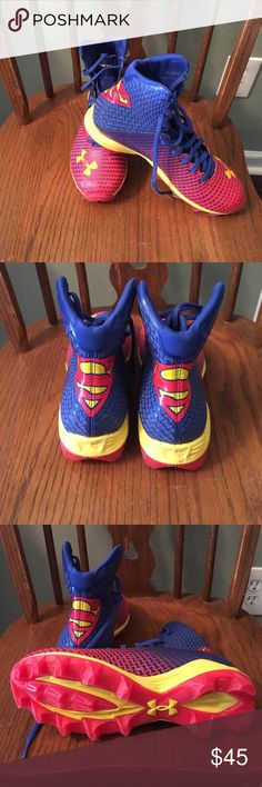Under Armour Superman Youth Football 🏈 Cleets These were worn twice for javelin but are in terrific shape. They are a 6Youth and are perfect for a young guy/girl who is starting the sport! Very comfortable and supportive. Also, pretty cool because they've got the superman logo! I'm willing to hear offers, but I would really like to get the listed price since they've only been worn twice. Under Armour Shoes