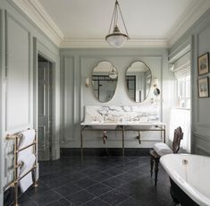 Cherishing morning rituals in a spa-like bathroom is our mid-week motivation. The iconic Double Lowther vanity basin, with coll lever taps, adds an extra touch to this art deco-inspired interior at @thegleneagleshotel in Scotland, designed by @ennismore Spa Like Bathroom, Bathroom Floor Tiles, Bathroom Wallpaper, Bathroom Interior, Small Bathroom, Bathroom Ideas, Spa Bathrooms, Vanity Bathroom, Remodel Bathroom