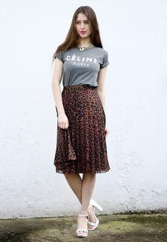 #Vintage #Leopard Print Pleated Flare #Midi #Skirt UK 14
