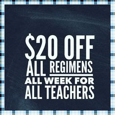 In honor of Teacher Appreciation week and all of the AMAZING teachers in our lives I'm offering a special deal for teachers this week. Are you a teacher who needs some fabulous skincare? Or know of a teacher who would enjoy some fabulous RodanFields products?  Send them my way and I'll take great care of them! $20 off all Regimens! All week for all teachers. An additional $20 cash back for any new PC orders (preferred customer).  Message me for the details.  Ends Sunday May 8th…