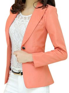 Boutique Slim Solid Color Single Button Turn Down Collor Blazer Three Colors on buytrends.com