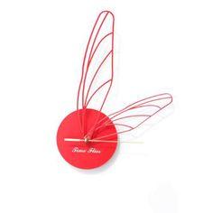 Jenny Walsh Time Flies Circular Wall Clock Red