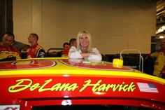 Delana Harvick hanging out before the NASCAR Sprint Pit Crew Challenge