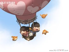 I feel like I'm above the sky when I'm with you, experiencing many things I've never experience before, and seeing the world differently! Above the Sky Hj Story, I Love You Honey, Love Is Sweet, Cute Love Cartoons, Cute Cartoon, Cute Love Stories, Love Story, Chibi Couple, Couple Illustration