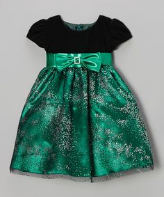Take a look at this Black & Green Velour Sparkle Bow Dress - Toddler & Girls by Sweá Pea & Lilli on #zulily today!