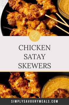 Chicken Satay Skewers – Deliciously juicy and tender chicken pieces marinaded in a satay sauce, and baked in the oven on skewer sticks. Serve with extra satay sauce for dipping for a lunch/dinner everyone will enjoy! Chicken Satay Skewers, Chicken Tenders, Skewer Sticks, Homemade Desserts, No Bake Desserts, Easy Desserts, Dessert Recipes, Oven, Nutter Butter