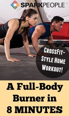 Get a Great Workout in 8 Minutes!  This CrossFit-style home workout kicks some serious butt in minimal time! | via @SparkPeople #workout #crossfit