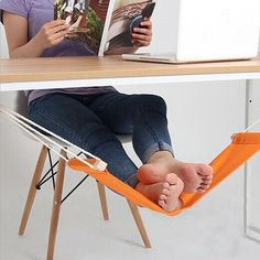 Foot Hammock,ESDAR Portable Mini Office Foot Hammock Stands Adjustable Desk Feet Hammock Resting Relieve Foot Fatigue Foot Pedal (Orange) -- Awesome products selected by Anna Churchill